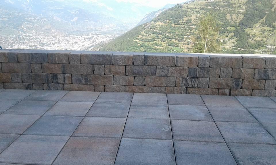 Mur en pierres artificielles à Nendaz